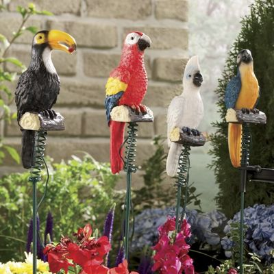 Set of 4 Solar Jungle Birds