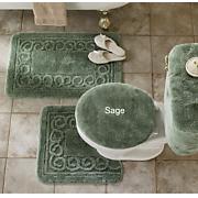 5 pc scroll bath rug set