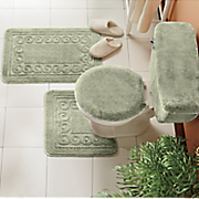 5 pc scroll bath rug set