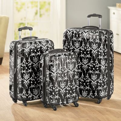 3-Piece Black Floral Hardside Luggage Set