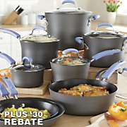 Rachael Ray Periwinkle Hard-Anodized Nonstick Cookware Set