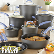 rachael ray periwinkle hard anodized nonstick cookware set