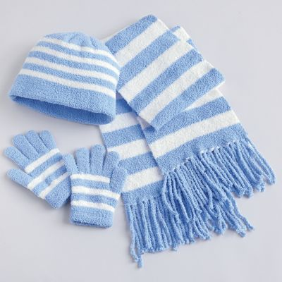 3-Piece Blue & White Hat, Scarf & Gloves Set