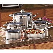 Ginny's Brand 14-Piece Stainless Steel Straight Side Cookware with Color Lid