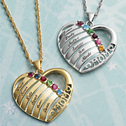 Personalized Mom Family Heart Pendant