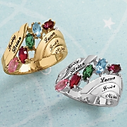 Personalized Family Ring with Diamond Accents