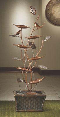 Metal Leaf and Bird Fountain