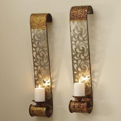 2-Piece 'Glastonbury' Laser-Cut Wall Candle Sconce Set