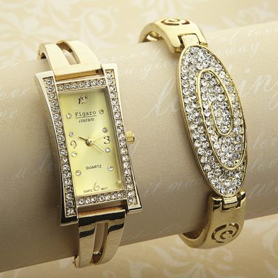Crystal Watch and Bangle Gift Set