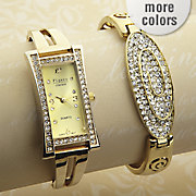 Crystal Watch And Bangle Gift Set