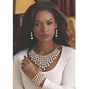 faux pearl necklace earring set