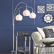 3-Arm White Shade Lamp