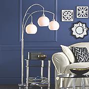 3 arm white shade lamp
