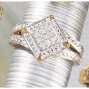 diamond shaped diamond cluster ring