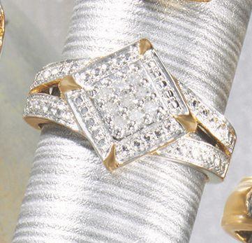 Diamond-Shaped Diamond Cluster Ring