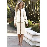 Leopard Trim Crepe Suit