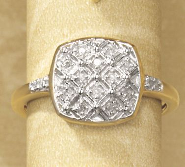 Postpaid 10K Gold Diamond Square Cluster Ring
