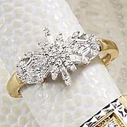 10K Gold Diamond Starburst Ring