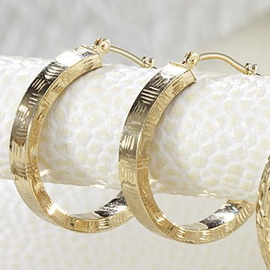 10K Yellow Gold Diamond-Cut Edge Hoops