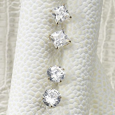 10K Yellow Gold Small Cubic Zirconia Posts