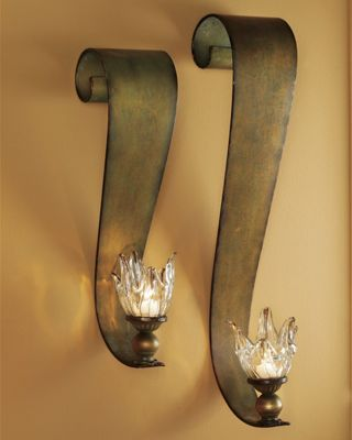 Set of 2 Ribbon Swirl Sconces