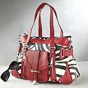 Red Trimmed Zebra Print Handbag