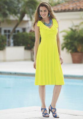 Flirty Ruffle Collar Dress by Midnight Velvet