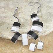 sleek arcs necklace earring set