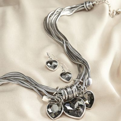 Heart Multi-Strand Necklace and Earring Set
