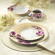 20 piece floral gold greek key dinnerware set