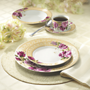 20 piece floral gold greek key dinnerware set