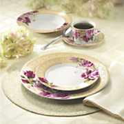 20-Piece Floral Gold Greek Key Dinnerware Set