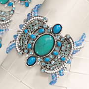 Faux Turquoise and Glass Bead Bracelet