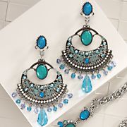 Faux Turquoise and Glass Bead Earrings