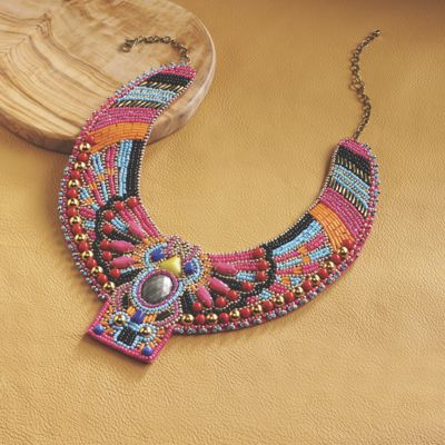 Mythical Bird Beaded Necklace
