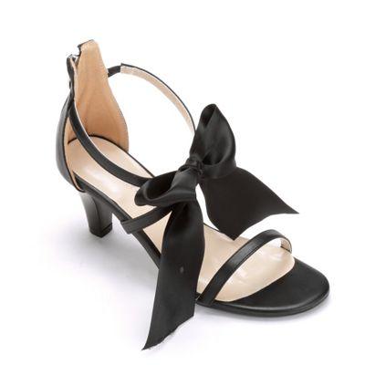 Midnight Velvet Fabric Bow Ankle Strap Sandal
