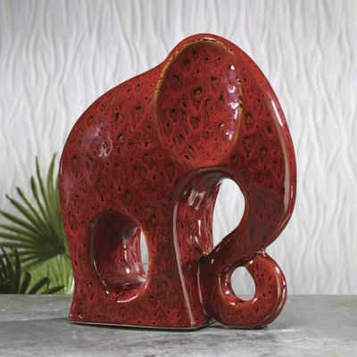 Red Elephant Figurine
