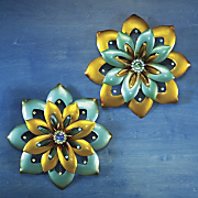 Jewel Blue Flower Wall Art Set