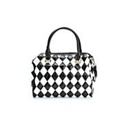 diamond patch leather handbag