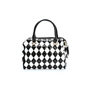 diamond patch leather handbag