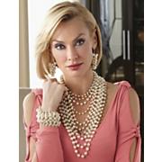 Faux Pearl Multichain Necklace And Bracelet
