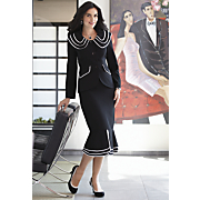 Catalina Triple Collar Suit, Black/Clear Jewelry and Spectator Slingback