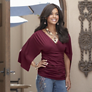 Cranberry Shirred Knit Top and Embroidered Jeans