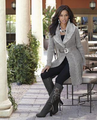 Faux Fur Trim Sweater Coat