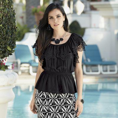Joselina Crochet Ruffle Top