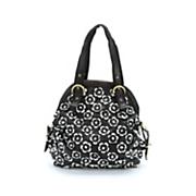 black white flower bag