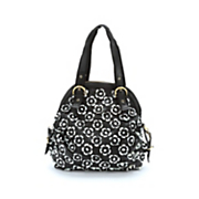 black white flower bag