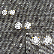 cubic zirconia 3 pair post earring set