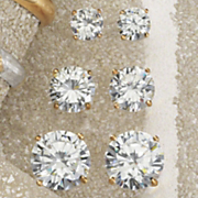 cubic zirconia 3 pair post earring set