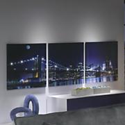 3 piece lit cityscape art
